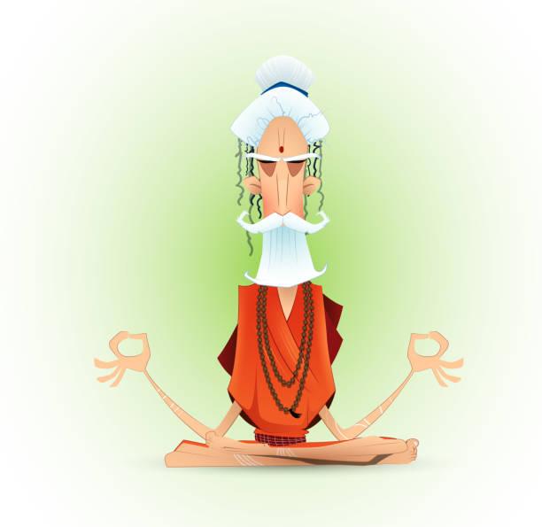 Holy yogi in deep concentration. Holy yogi in deep concentration. Meditating ascetic. Cartoon vector illustration yogi stock illustrations