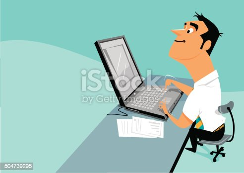 istock Hombre tecleando un pc portatil 504739295