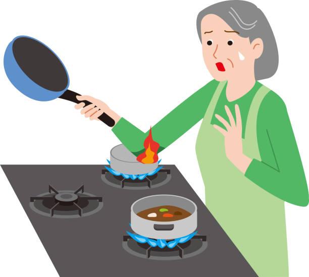 ilustrações de stock, clip art, desenhos animados e ícones de home accident of the elderly.clothes are on fire. - burned cooking