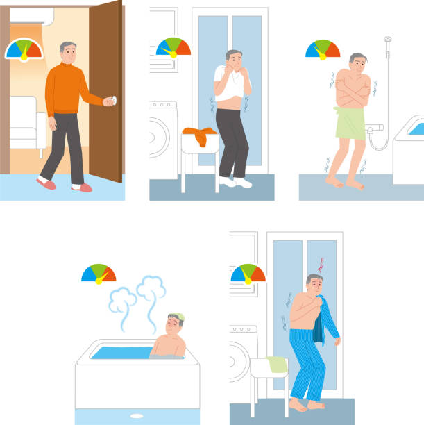 Home accident of the elderly.Temperature difference when taking a bath healthcare undressing stock illustrations