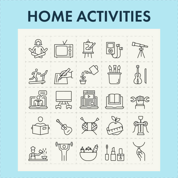 Home Activities Line Icon Set Home activities while in quarantine. recreational pursuit stock illustrations
