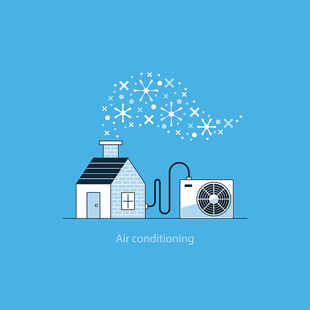 Home air conditioning, climate control concept, house cooling vector art illustration