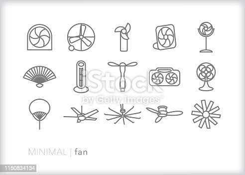 Set of 15 fan line icons of creating cooling breeze including ceiling fan, handheld fan, portable fan, oscillating fan and others