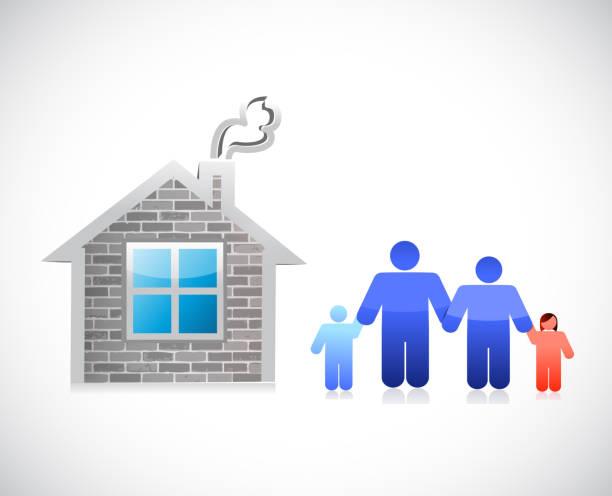 dom i rodzina. projekt ilustracji domu z cegły - white house stock illustrations