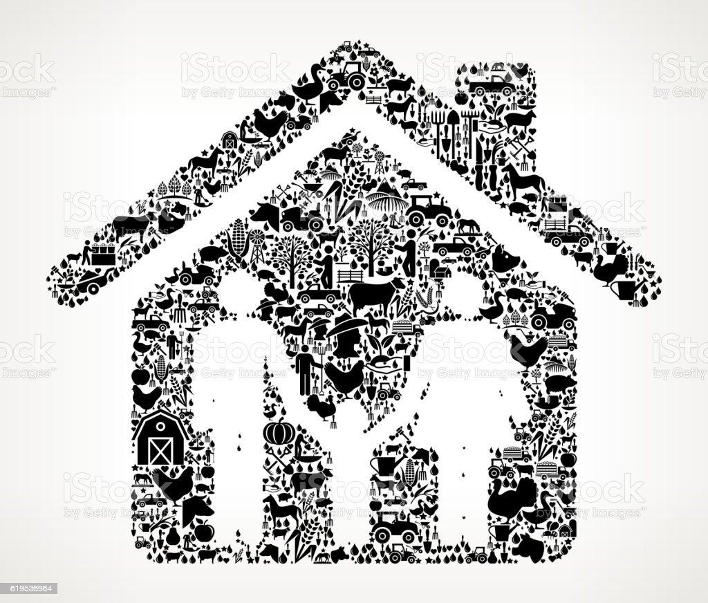 Home and Family Farming and Agriculture Black Icon Pattern - ilustração de arte em vetor
