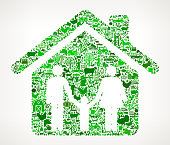 Home and Family Icon . The green vector icons create a seamless pattern and include popular farming and agriculture. Farm house, farm animals, fruits and vegetables are among the icons used in this file. The icons are carefully arranged on a light background and vary in size and shades of green color.