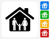 Home and Family Icon. This 100% royalty free vector illustration features the main icon pictured in black inside a white square. The alternative color options in blue, green, yellow and red are on the right of the icon and are arranged in a vertical column.