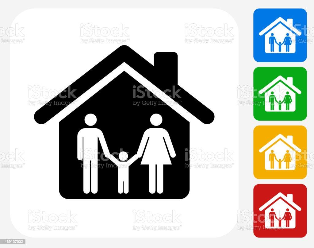 Casa y familia iconos planos de diseño gráfico - ilustración de arte vectorial