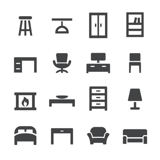 Home and Furniture Icons - Acme Series Home and Furniture Icons interior designer stock illustrations