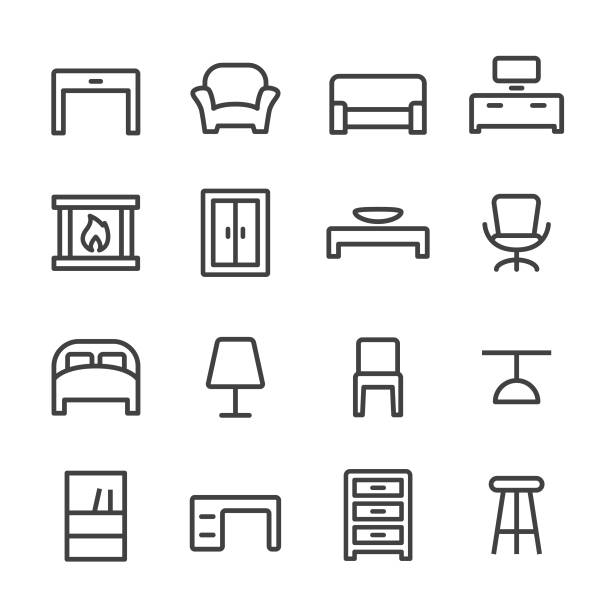 Home and Furniture Icons - Line Series Home, Furniture, interior designer stock illustrations