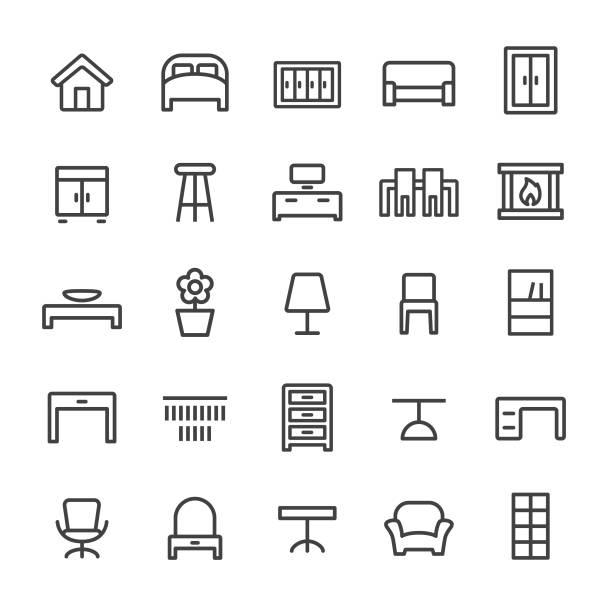 ilustrações de stock, clip art, desenhos animados e ícones de home and furniture icons - smart line series - sideboard