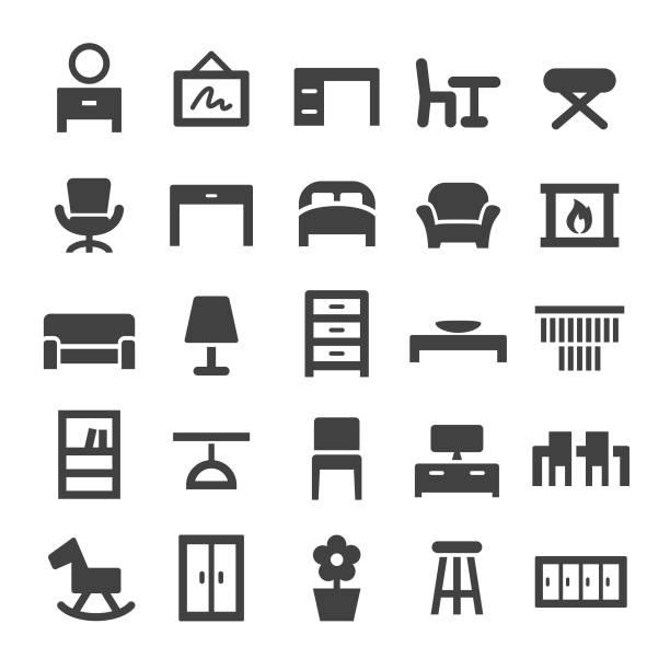 ilustrações de stock, clip art, desenhos animados e ícones de home and furniture icons - smart series - sideboard