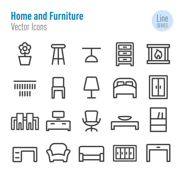 Home and Furniture Icons - Vector Line Series Home, Furniture, armchair stock illustrations