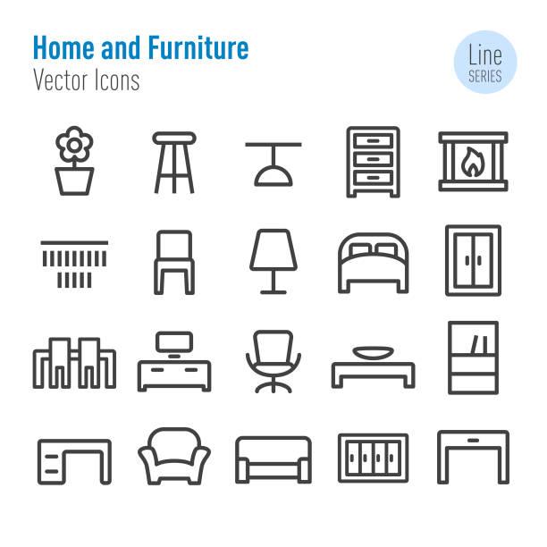 bildbanksillustrationer, clip art samt tecknat material och ikoner med hem och möbler ikoner - vektor line serien - stol