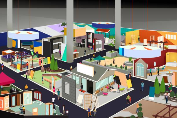 家と庭の貿易ショーの図 - 展示会点のイラスト素材/クリップアート素材/マンガ素材/アイコン素材