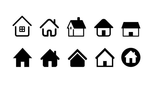 ilustrações, clipart, desenhos animados e ícones de conjunto de ícones para casa e casa. imagem de ilustração vetorial. - edifício residencial
