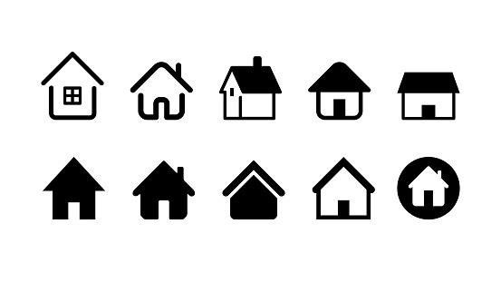 家と家のアイコンを設定しますベクトル イラスト イメージ - GUIのベクターアート素材や画像を多数ご用意