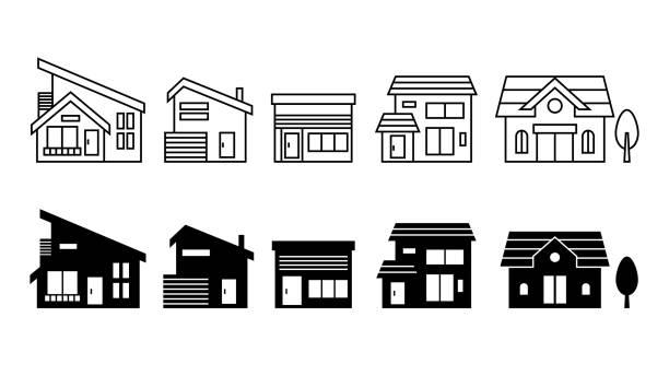 bildbanksillustrationer, clip art samt tecknat material och ikoner med hem och hus ikonuppsättning. vektor illustration bild. - bebyggelse