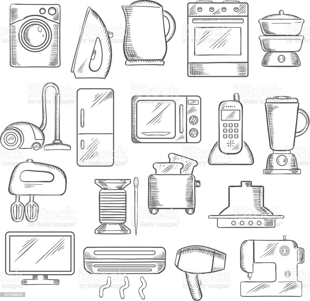 Kitchen Appliance Drawings ~ 홈화면 및 주방 기기의 아이콘 세트 가정 생활에 대한 스톡 벡터 아트 기타 이미지