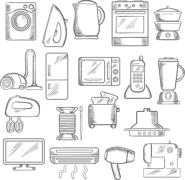 Home and kitchen appliance icons set Home appliance icons with microwave, vacuum, iron, refrigerator, toaster, tv set, washing and sewing machine, blender, mixer and fan, stove kettle air conditioner telephone, steamer and cooker hood oven stock illustrations