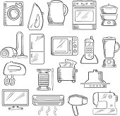 Home and kitchen appliance icons set