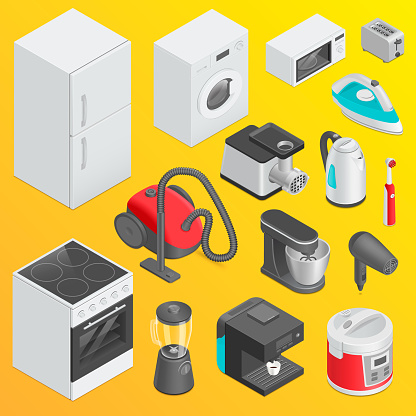 Home and Kitchen Appliances Set, Isometric Objects