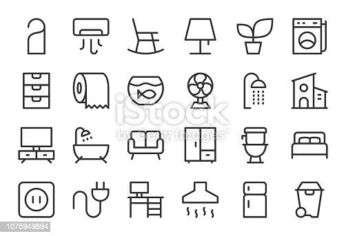 Home and Living Icons Light Line Series Vector EPS File.