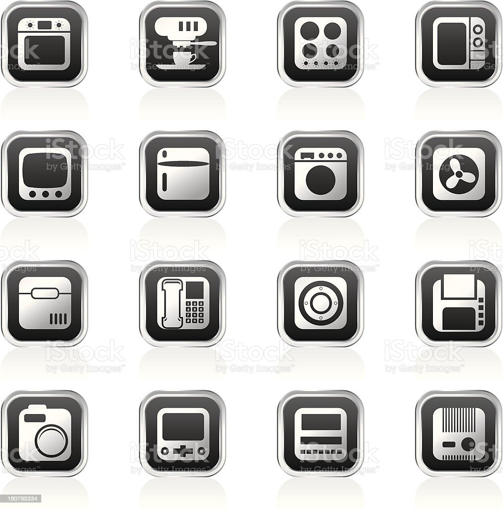 Home and Office, Equipment Icons royalty-free home and office equipment icons stock vector art & more images of black color