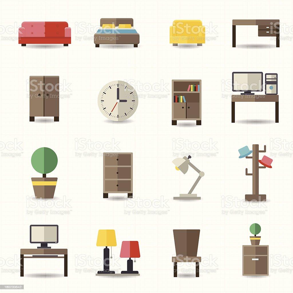 Ilustraci n de hogar y mobiliario de oficina interior y for Mobiliario en ingles
