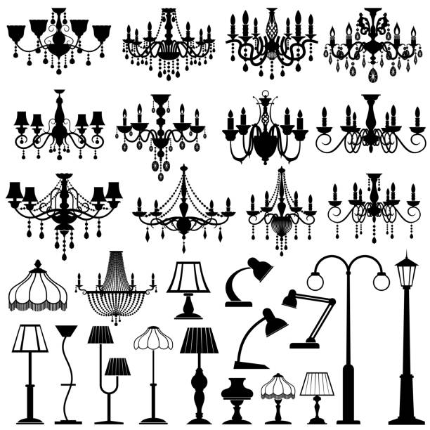 stockillustraties, clipart, cartoons en iconen met home en outdoor lightning, lampen en kroonluchters vector set - kroonluchter