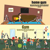 horizontal vector banners on the theme of sports activities. home and professional gym room. vector illustration.