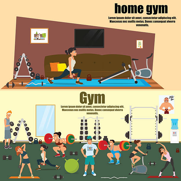 home and professional gym room vector art illustration