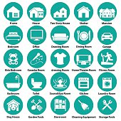 Home and room icon circular symbols