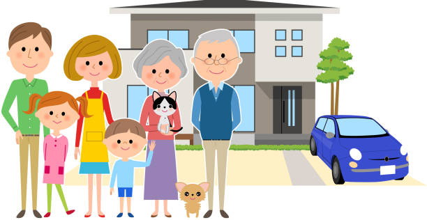 Home and the family vector art illustration