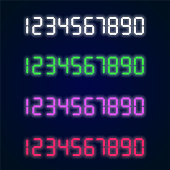 Home appliance digital numbers vector set. Digital glowing collection for alarm clocks, calculators, vintage style technical design.