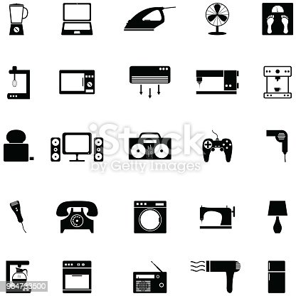 Home Appliance Icon Set Stock Vector Art & More Images of Appliance 964733500