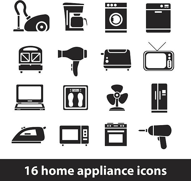 home appliance icons vector art illustration