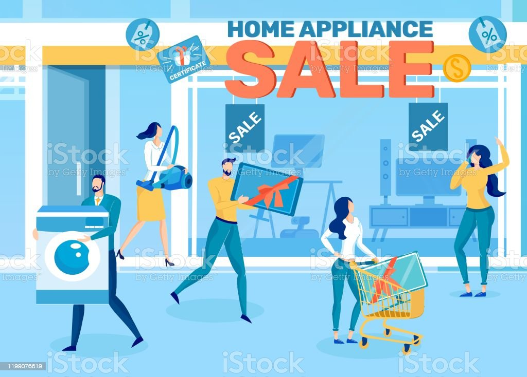 Home Appliance Store Sale Flat Vector Ad Banner Stock Illustration Download Image Now Istock