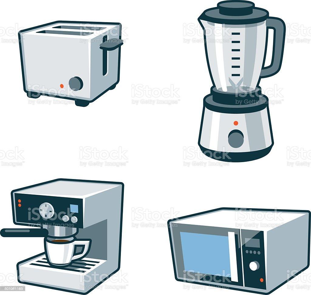 Haushaltsgeräte 3toaster Mixer Kaffeemaschine Und Mikrowelle Stock ...
