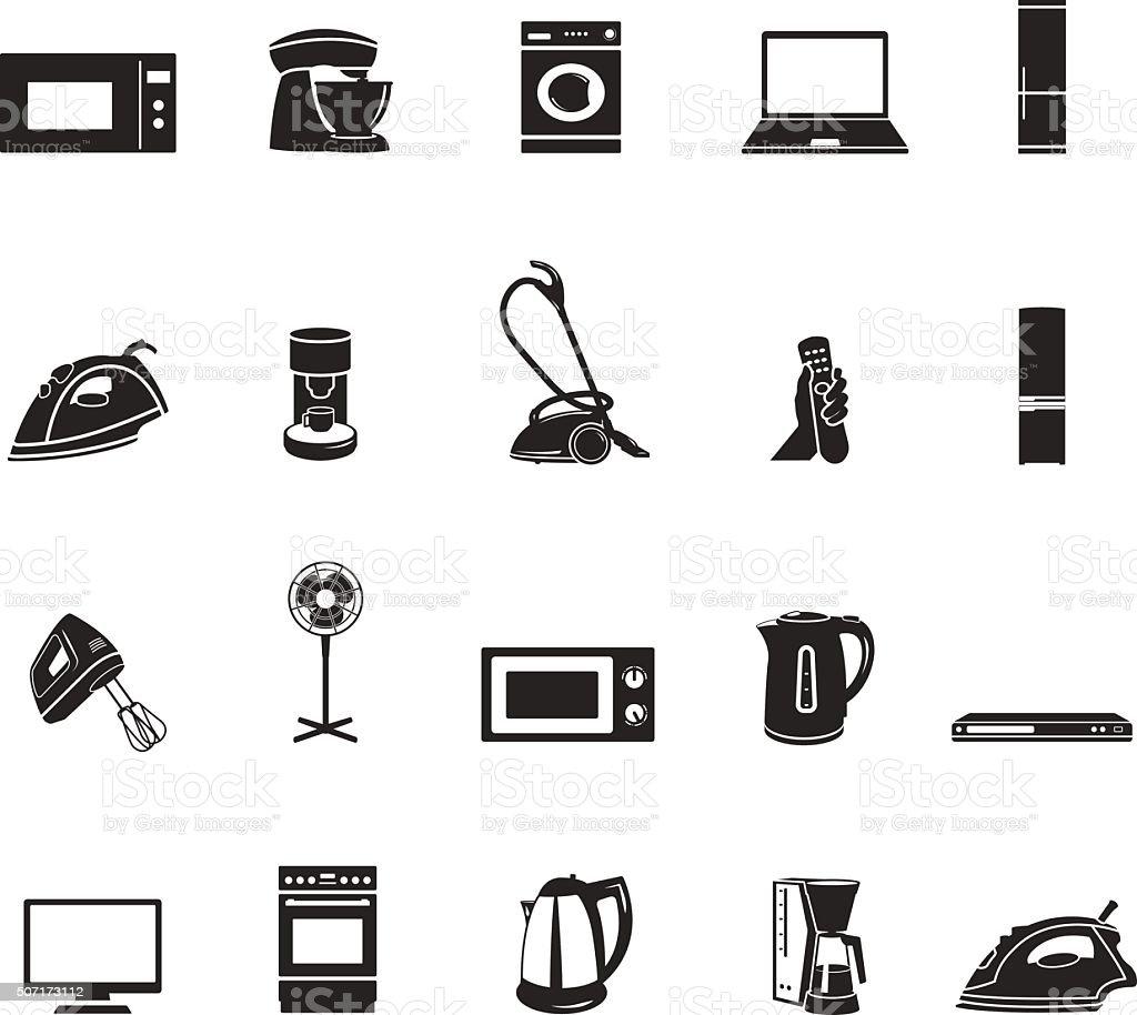 Haushaltsgeräte Und Elektronische Geräte Symbole Satz Stock Vektor ...