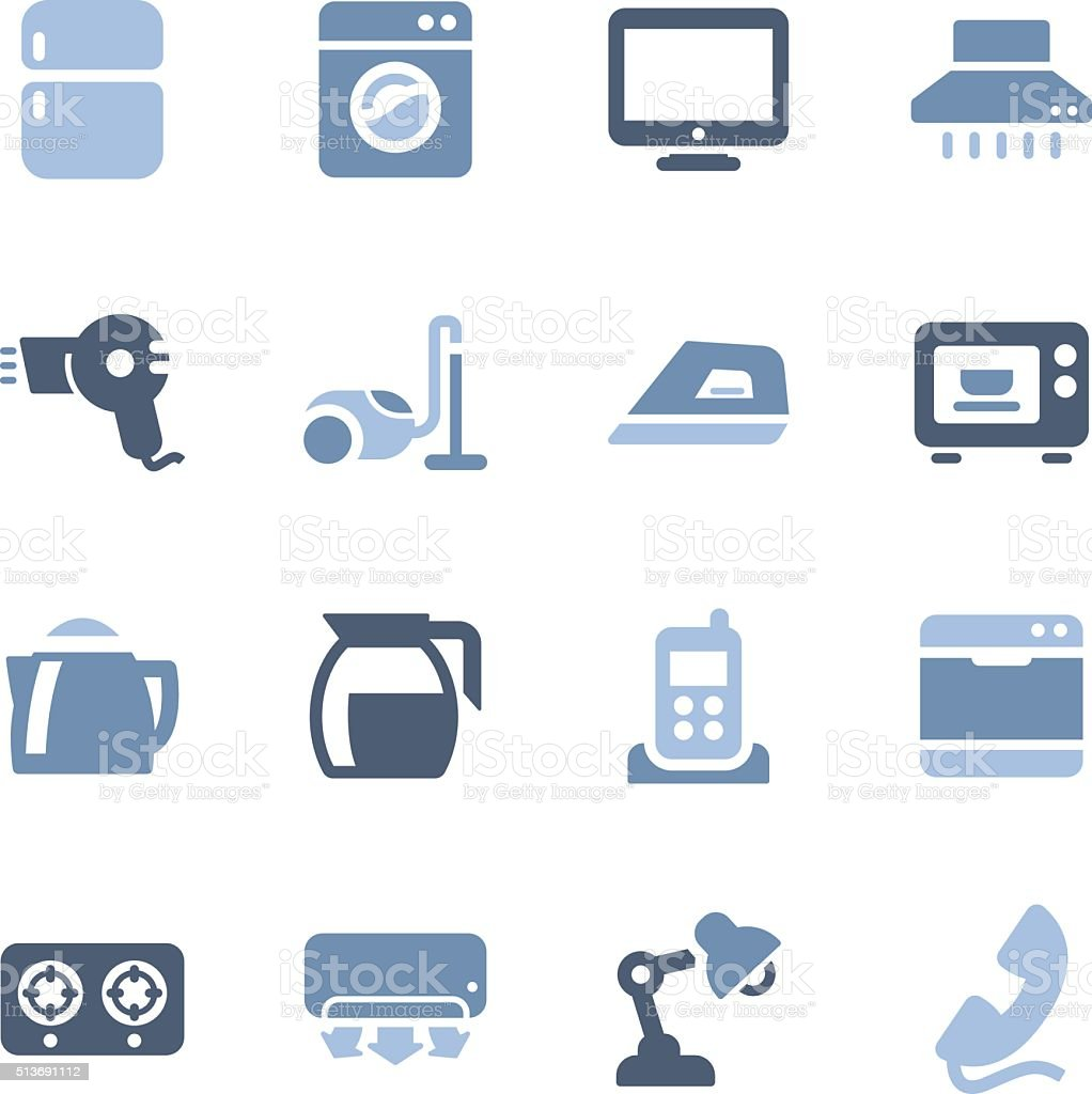 home appliances and electronics icons vector art illustration