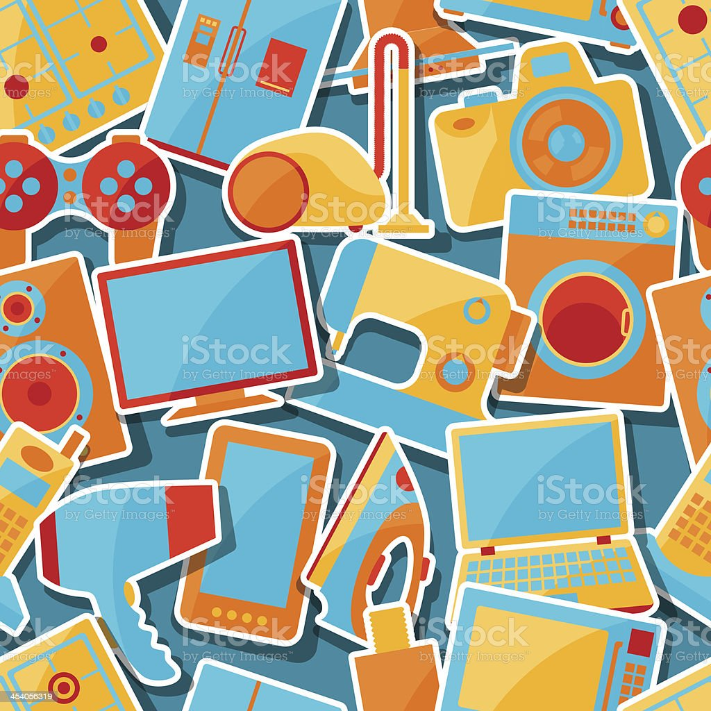 Home appliances and electronics seamless patterns. royalty-free home appliances and electronics seamless patterns stock vector art & more images of appliance