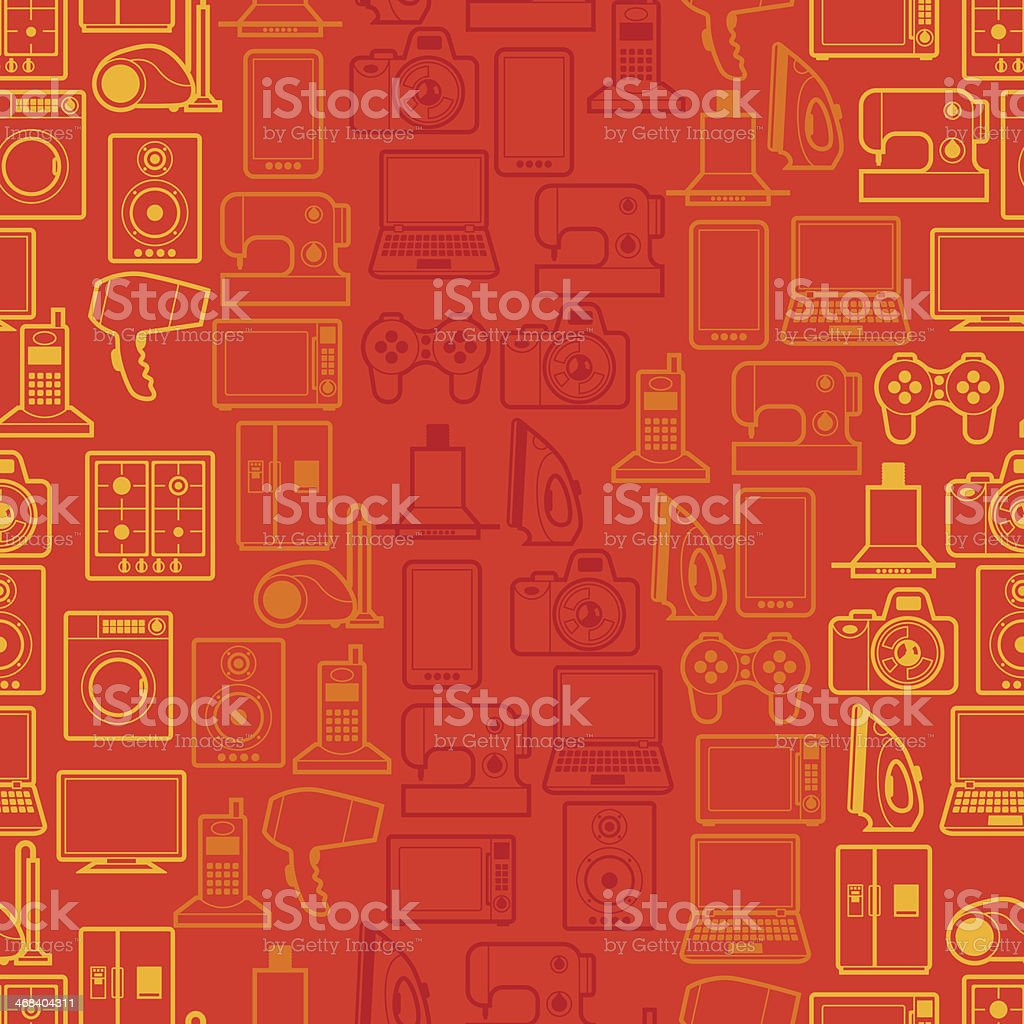 Home appliances and electronics seamless patterns. royalty-free stock vector art