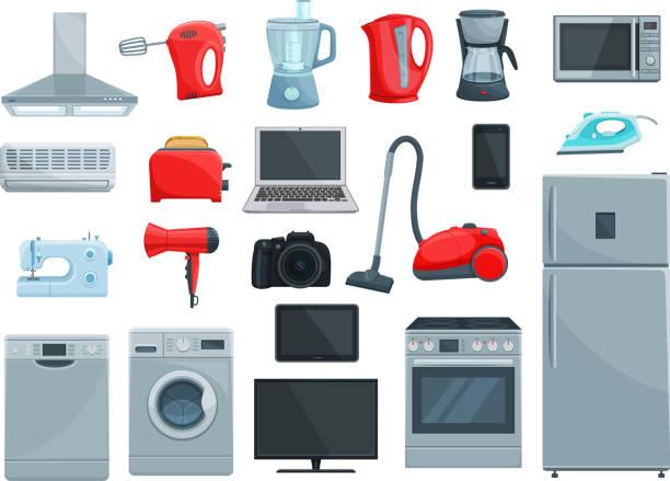 haushaltsgeräte und geschirr symbole - küchenmixer stock-grafiken, -clipart, -cartoons und -symbole