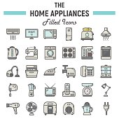 Home appliances colorful line icon set, technology symbols collection, vector sketches, logo illustrations, household filled pictograms package isolated on white background, eps 10.