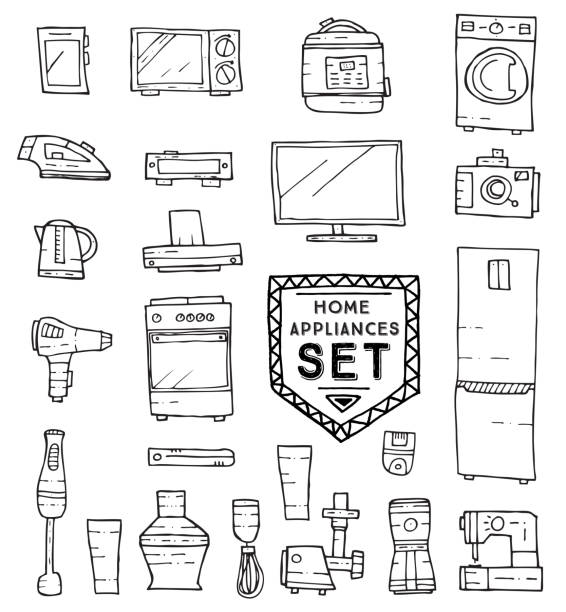 Home appliances doodle set. Vector illustration. Home appliances doodle set. Vector illustration. Household equipment and facilities isolated on white background. oven stock illustrations