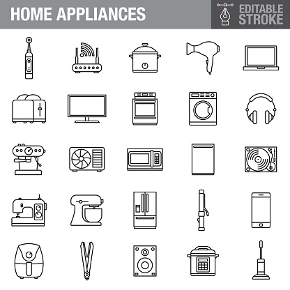 Home Appliances Editable Stroke Icon Set