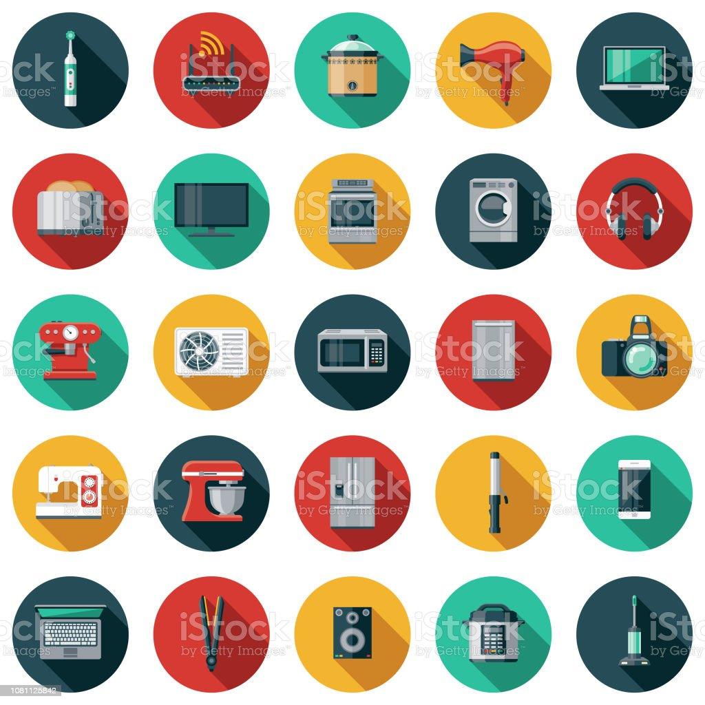 Appareils électroménagers Design plat Icon Set - clipart vectoriel de Appareil photo libre de droits
