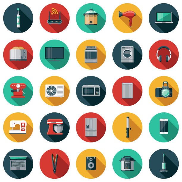 Home Appliances Flat Design Icon Set A flat design styled icon set with a long side shadow. Color swatches are global so it's easy to edit and change the colors. oven stock illustrations