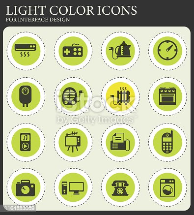 home appliances vector icons for web and user interface design
